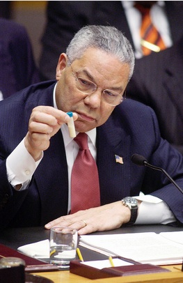 Colin Powell, United States Secretary of State, briefing the Security Council on February 5, 2003.